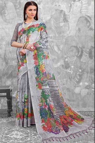 Optimum Grey Digital Printed Linen Cotton Saree With Linen Cotton Blouse