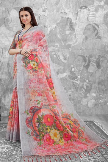 Ultimate Pink Digital Printed Linen Cotton Saree With Linen Cotton Blouse
