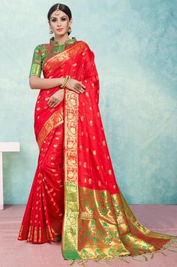 Red Jacquard Work Banarasi Silk Saree With Banarasi Silk Blouse