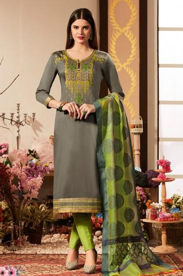 Lovely Grey Embroidered Cotton Silk Casual Salwar Suit With Banarasi Silk Dupatta