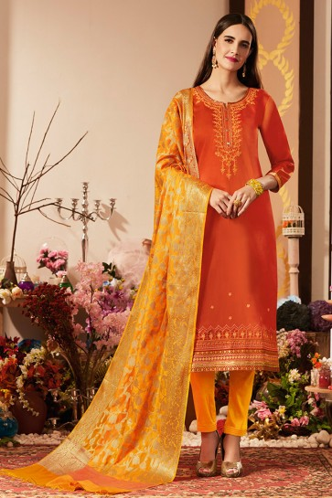 Desirable Orange Cotton Silk Embroidered Casual Salwar Suit With Banarasi Silk Dupatta