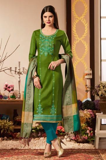 Ultimate Green Cotton Silk Embroidered Casual Salwar Suit With Banarasi Silk Dupatta