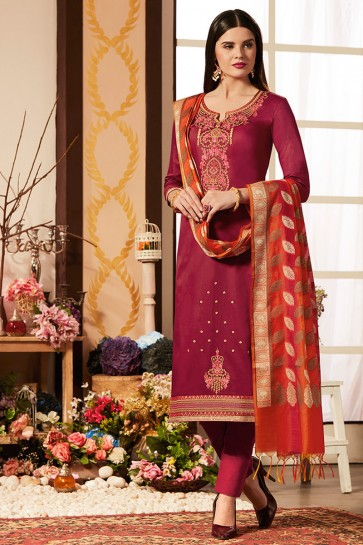 Pretty Pink Cotton Silk Casual Salwar Suit With Banarasi Silk Dupatta