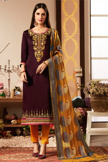 Coffee Embroidered Cotton Silk Casual Salwar Suit With Banarasi Silk Dupatta