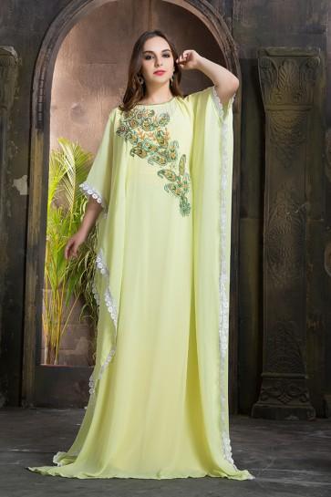 Green Georgette and Crepe Embroidered Kaftan