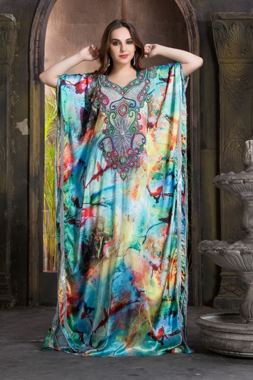 Classic Blue Satin and Crepe Embroidered Eid Special Kaftan