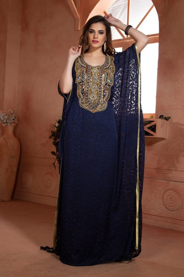 Navy Blue Crepe and Brasso Embroidered Eid Special Kaftan