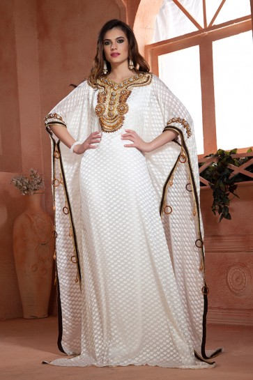 Charming White Crepe and Brasso Embroidered Kaftan