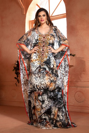 Excellent Black Brasso and Crepe Embroidered Kaftan