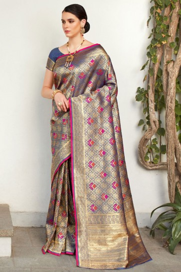 Stylish Multicolor Weaving Work And Jacquard Work Silk Saree With Border Work Blouse