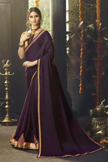 Pretty Purple Silk Party Wear Embroidered Saree With Banglori Silk Blouse