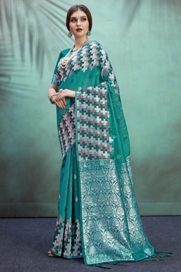 Teal Banarasi Art Silk Fabric Jacquard Work And Weaving Work Designer Saree And Blouse