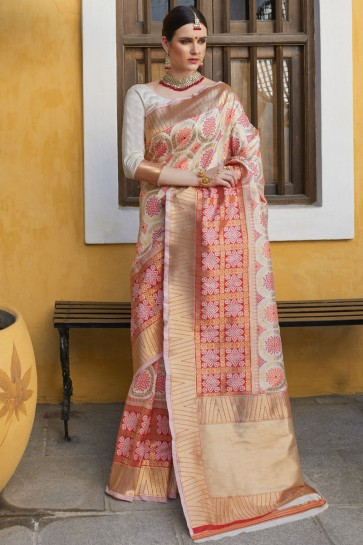 Appealing Multicolor Jacquard Work And Weaving Work Designer Silk Saree And Blouse
