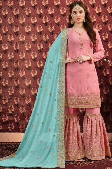Delicate Pink Stone And Zari Work Faux Georgette Plazzo Suit And Dupatta