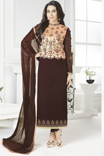 Karisma Kapoor Embroidery Work Georgette Brown Party Wear Salwar Suit And Dupatta