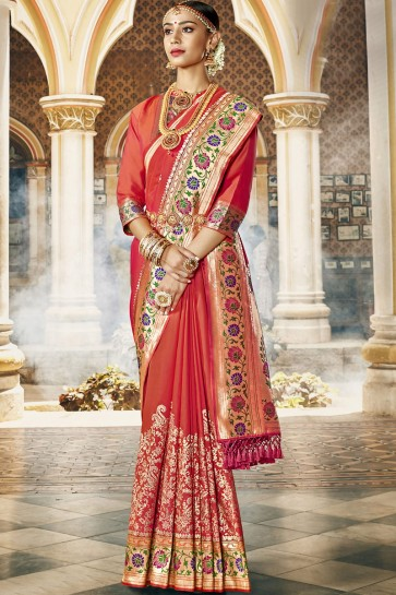 Rust Silk Fabric Weaving Work And Jacquard Work Saree And Blouse