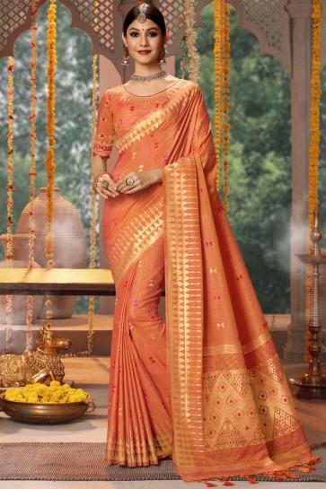 Cotton And Banarasi Silk Fabric Orange Thread And Jacquard Work Saree And Blouse