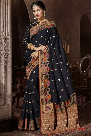 Black Silk Fabric Zari And Weaving Work Designer Saree And Blouse
