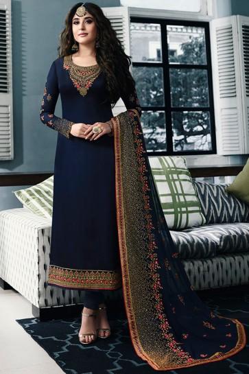 Kritika Kamra Embroidered Navy Blue Georgette Satin Designer Salwar Kameez