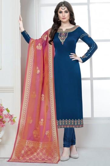 Blue Georgette Satin And Embroidered Salwar Suit With Banarasi Silk Dupatta