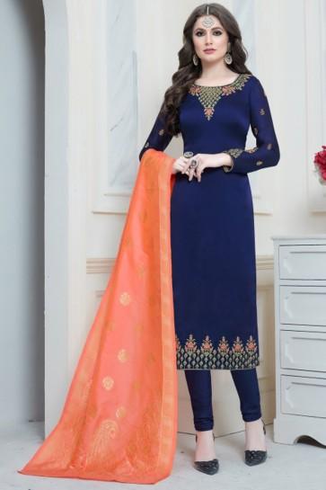 Pretty Navy Blue Embroidered Designer Salwar Kameez With Banarasi Silk Dupatta