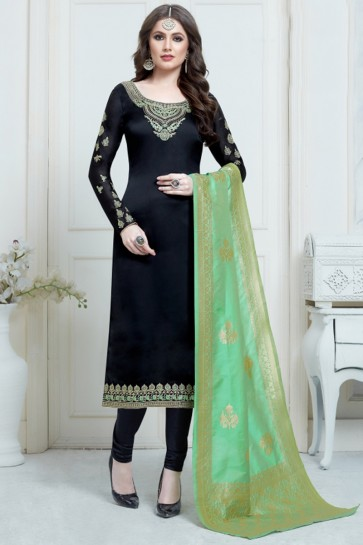 Party Wear Black Embroidered And Georgette Satin Salwar Suit And Santoon Bottom