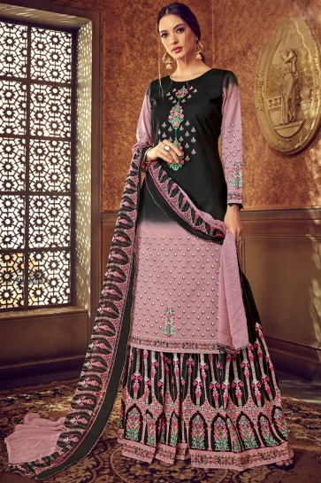 Baby Pink And Black Digital Print Cotton Fabric Lehenga Suit With Chiffon Dupatta