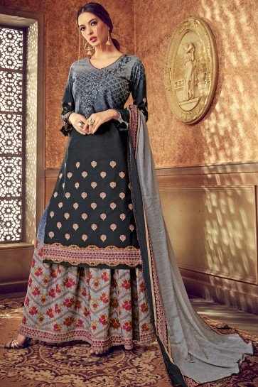 Party Wear Cotton Fabric Grey And Black Lehenga Suit With Chiffon Nazmin Dupatta