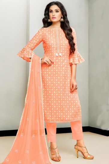 Fascinating Peach Satin Embroidered And Printed Cotton Salwar Kameez With Nazmin Dupatta
