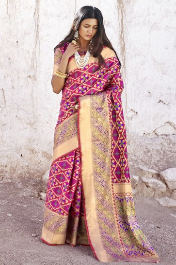 Pink Jacquard Work And Weaving Work Patola Silk Saree With Border Work Blouse