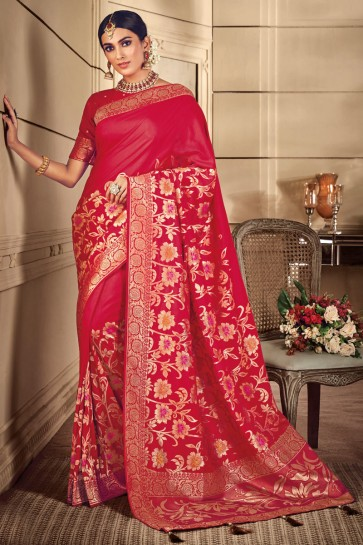 Charming Red Thread Work Designer Silk Saree And Blouse
