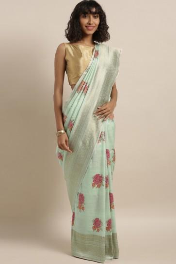 Ultimate Thread Work Sea Green Banarasi And Art Silk Saree With Embroidered Blouse