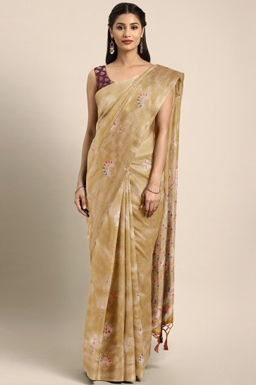 Party Wear Mustard Thread Work Art Silk Saree With Embroidered Blouse