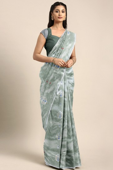 Stylish Sea Green Thread Work Art Silk Saree With Embroidered Blouse