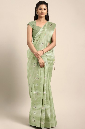 Classy Olive Thread Work Art Silk Saree With Embroidered Blouse