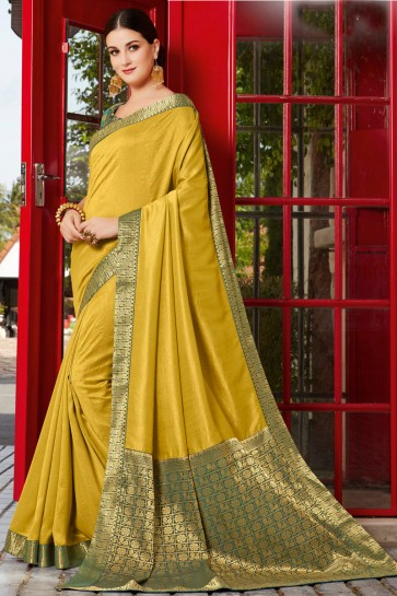 Excellent Silk Olive Border Work And Embroidered Saree And Blouse