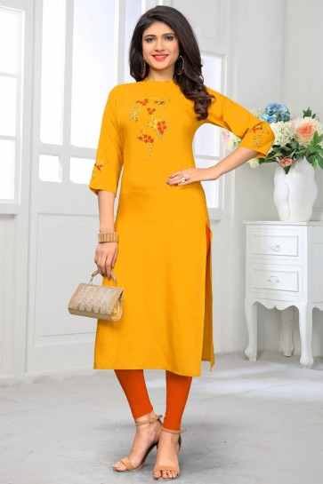 Gorgeous Rayon Yellow Printed Kurti