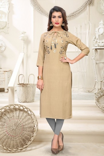 Admirable Rayon Beige Embroidered Kurti