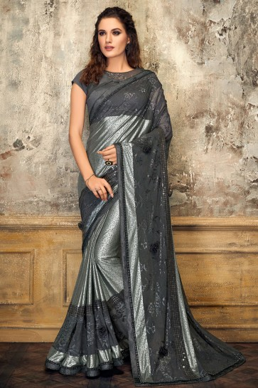 Classy Grey And Silver Lycra Digital Print Saree With Net Work Blouse