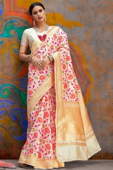 Dazzling White Weaving Work And Jacquard Work Designer Silk Saree With Border Work Blouse