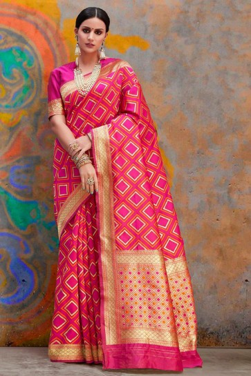 Delightful Pink Jacquard Work And Weaving Work Designer Silk Saree And Blouse