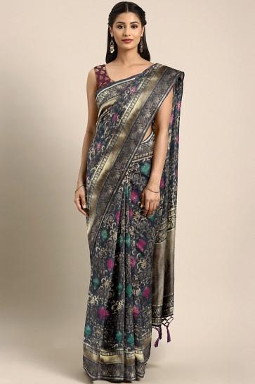 Grey Banarasi Art Silk Jacquard Work And Weaving Work Saree With Weaving Work Blouse