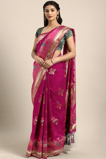 Beautiful Maroon Weaving Work And Jacquard Work Banarasi Silk Saree And Blouse