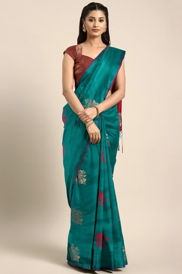 Ultimate Sea Green Jacquard Work And Weaving Work Silk Saree With Weaving Work Blouse