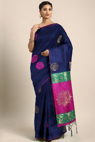 Party Wear Blue Weaving Work And Jacquard Work Art Silk Saree And Blouse