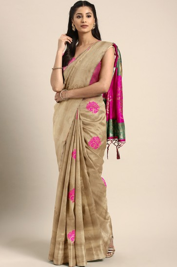 Supreme Beige Weaving Work And Jacquard Work Art Silk Saree With Weaving Work Blouse