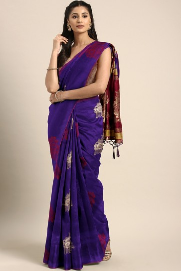 Jacquard Work And Weaving Work Purple Banarasi Art Silk Designer Saree And Blouse