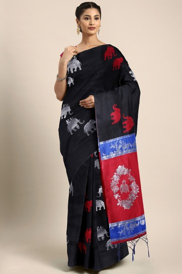 Party Wear Black Art Silk Jacquard Work And Weaving Work Saree And Blouse