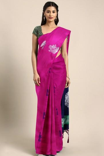 Admirable Magenta Jacquard Work And Weaving Work Designer Art Silk Saree With Art Silk Blouse