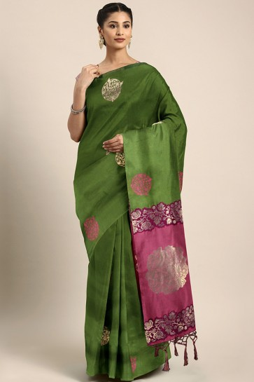 Optimum Mehendi Green Art Silk Weaving Work Stylish Saree And Blouse